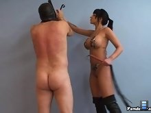 Grasping the whip in her right hand and moving to his left, Mistress Hannah lashed his buttocks..