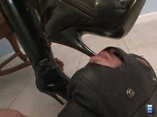 Mistress Giselle straps a dildo gag into his mouth and face fucks him until she cums.