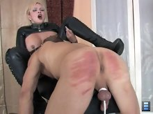 Male bitch caned and forced to give demanding Mistress Skyla oral bliss.