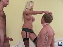 Eden has an insatiable sexual appetite. It takes two men to please her: a stud with a huge cock and an attentive cuck with a soft tongue.