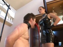 When Megan has had her fill of whipping this bitch she demands that he kiss her and her whip. Then she shoves the whip into the slut's trembling mouth and smiles.