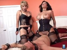 The Goddesses laugh at his frustration and pain as the slave moans for his poor balls. Best of Femdom CBT movie ever!