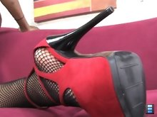 Dayna Vendetta can have her pick of any guy she wants. She pick her submissive hubby for male chastity belt!
