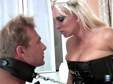 Mistress Holly rides his dick to an orgasm, but her slave also cums inside her - without permission! Holly slaps his face furiously and orders him to clean up his own cum.