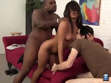 The cuckold's payment comes when he's given the great honor of lapping up Rico's cum from Reena Sky's beaten pussy.