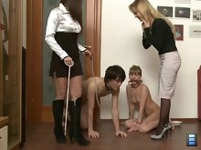Both human dogs, male-slave and female-slave are well disciplined and trained. Ladies can be proud of them!