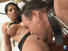 Then she mounts her stud and fucks him long and hard. She demands that her cuck watch.