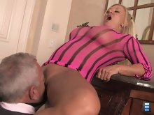 She grabs the slut up and smacks him in the face repeatedly. The slut's face becomes beet red but Charity keeps on slapping him.
