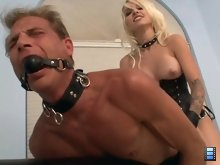 Mistress Stevie pounds his ass so hard that his entire body starts convulsing only making her burst out in laughter.