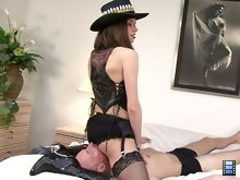 Mistress Bijou rides her victim hard in this video. You can tell he is really suffering by his sounds of pain..