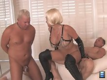 When Sklyer is satisfied that the cock is lubed, she pushes the cuck's face into her pussy, Get me nice and wet.