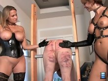 Alana is eager to try her hand. She is a natural Brianna smiles proudly as Alana steps up with brute force strokes.