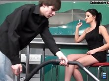 Dark-haired babe makes her hubby rub her clit while she's fucking her lover