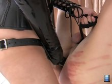 Mistress Shiva puts the slut's balls on a rope and slides her 10 inch strap on cock into the slut's fuck hole. Megan shoves her cock down the slut's throat.
