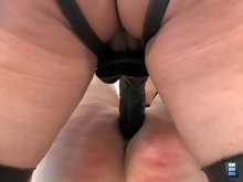 Mistress Megan has her slave strapped to a bondage bench, the slut's legs are in the air and his ass is completely exposed. Shiva loves to fuck males ass.