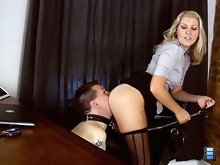 While Ashley is praising the work of a female subordinate, she is constantly bitching at her slave for his poor performance.